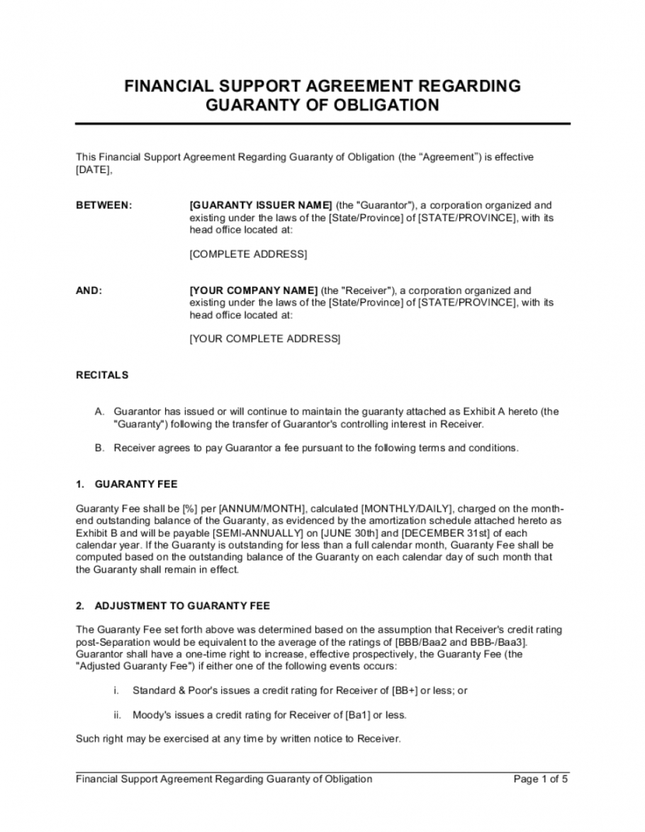 financial support agreement regarding guaranty of obligation financial agreement template free pdf