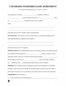 free colorado standard residential lease agreement template apt lease agreement template example
