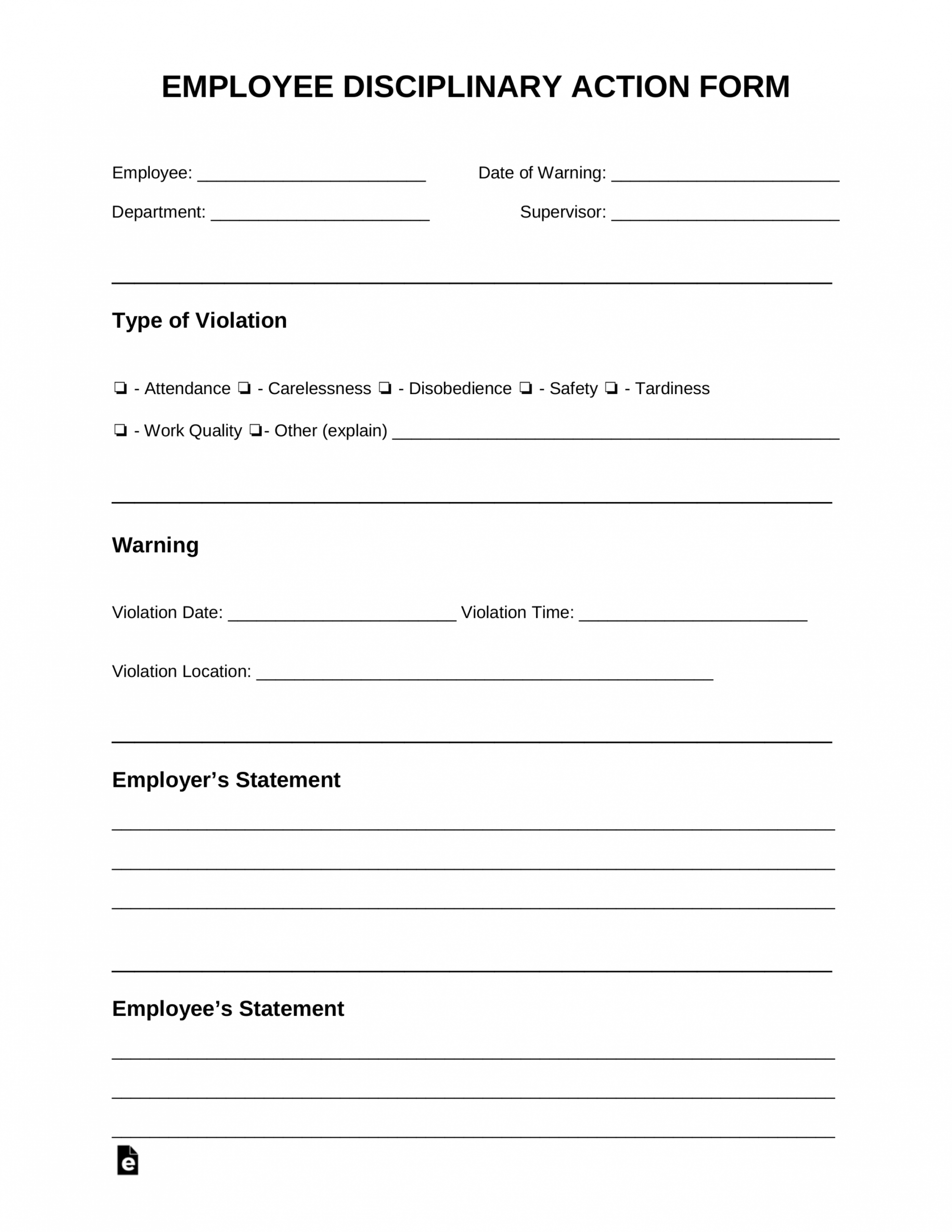 free employee disciplinary action discipline form  pdf progressive discipline form template example