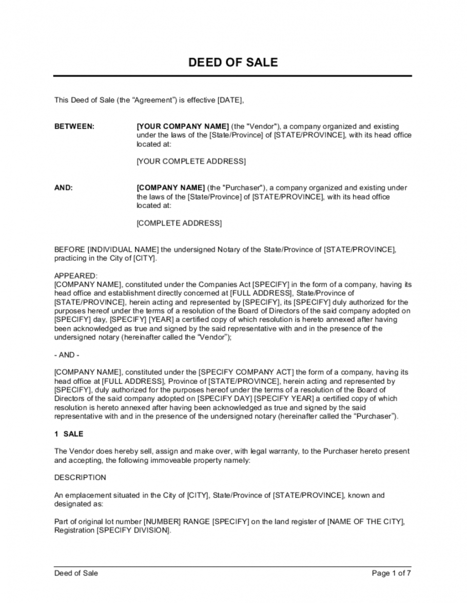 printable deed of sale real estate property template businessin sale of house agreement template