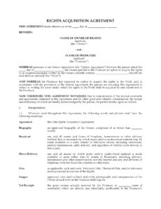 printable film rights acquisition agreement screenplay option agreement template sample