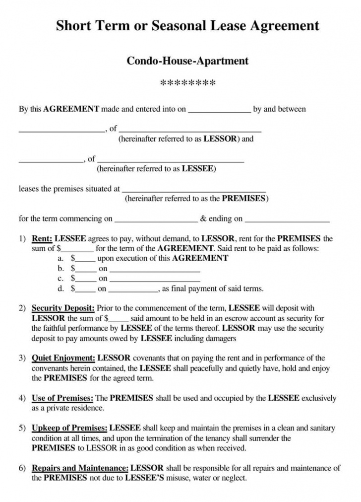 printable free shortterm rental lease agreement templates vacation apartment rental agreement template word pdf