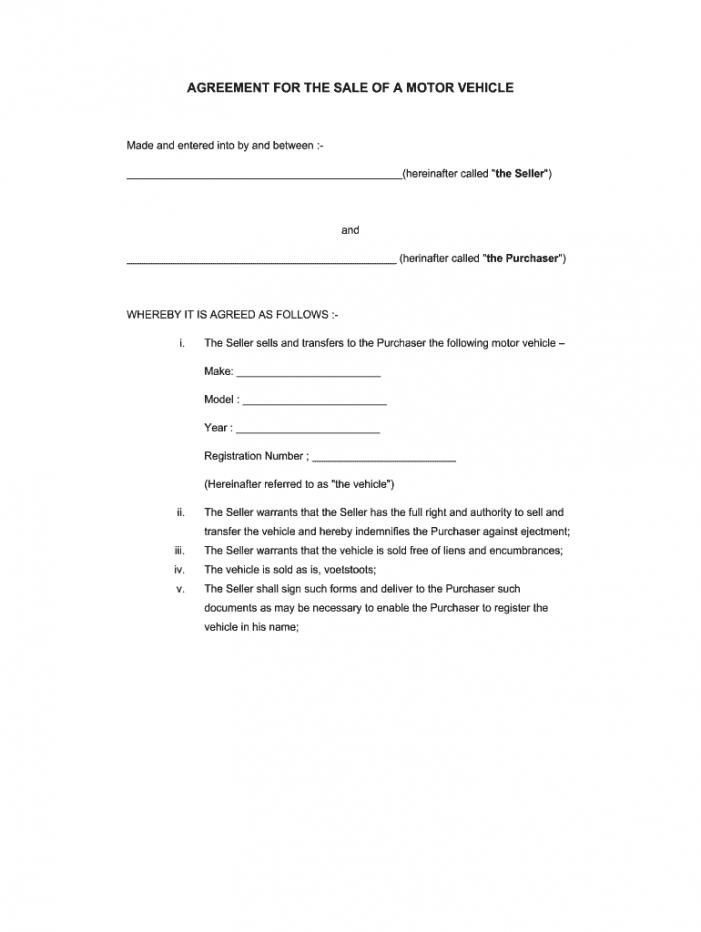printable voetstoots sale agreement template  fill online printable auto sale agreement template excel