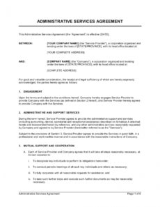 sample administrative services agreement template businessin service provision agreement template word