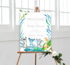 sample animal safari baby shower welcome sign poster  elephant baby shower poster template