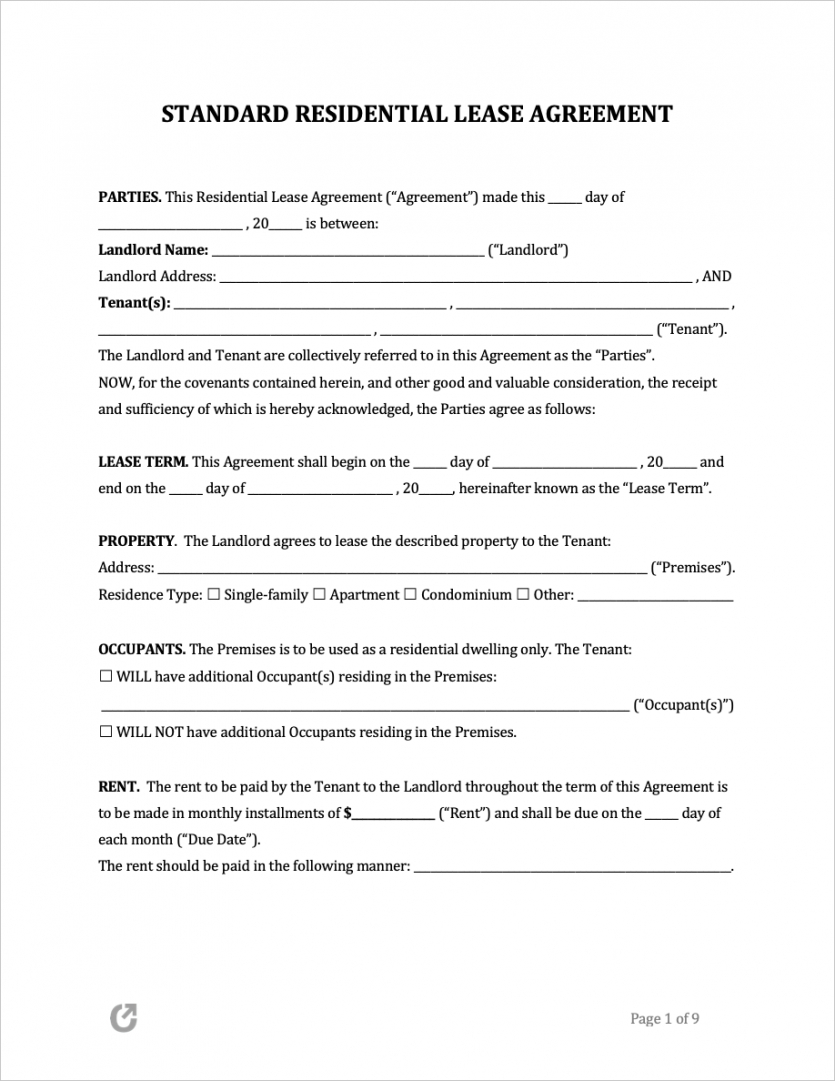 sample free lease agreement templates pdf word rtf