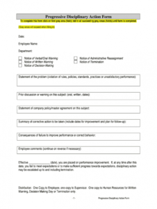 sample progressive discipline template  fill online printable progressive discipline form template word