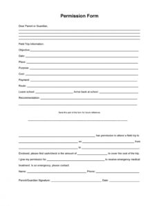 35 permission slip templates & field trip forms field trip release form template