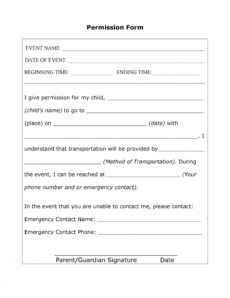 35 permission slip templates & field trip forms field trip release form template doc