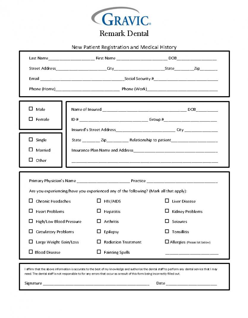 editable dental patient history form · remark software dental patient information form template excel