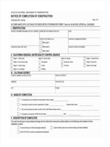 editable free 6 notice of completion forms in ms word  pdf completion of work form template word