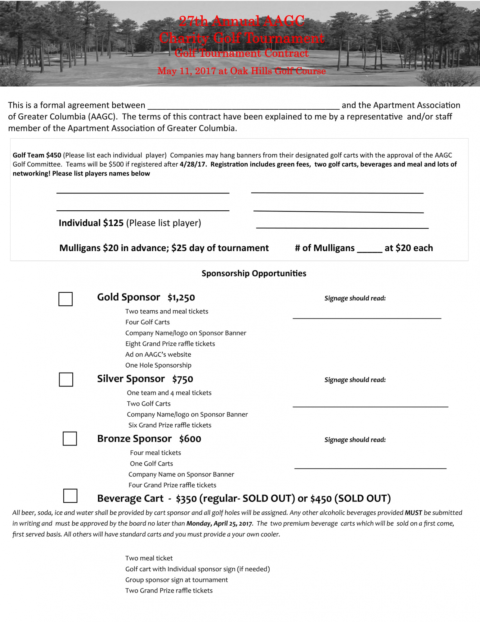 editable free 7 golf contract forms in pdf golf registration form template example
