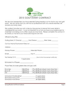 editable free 7 golf contract forms in pdf golf tournament registration form template doc