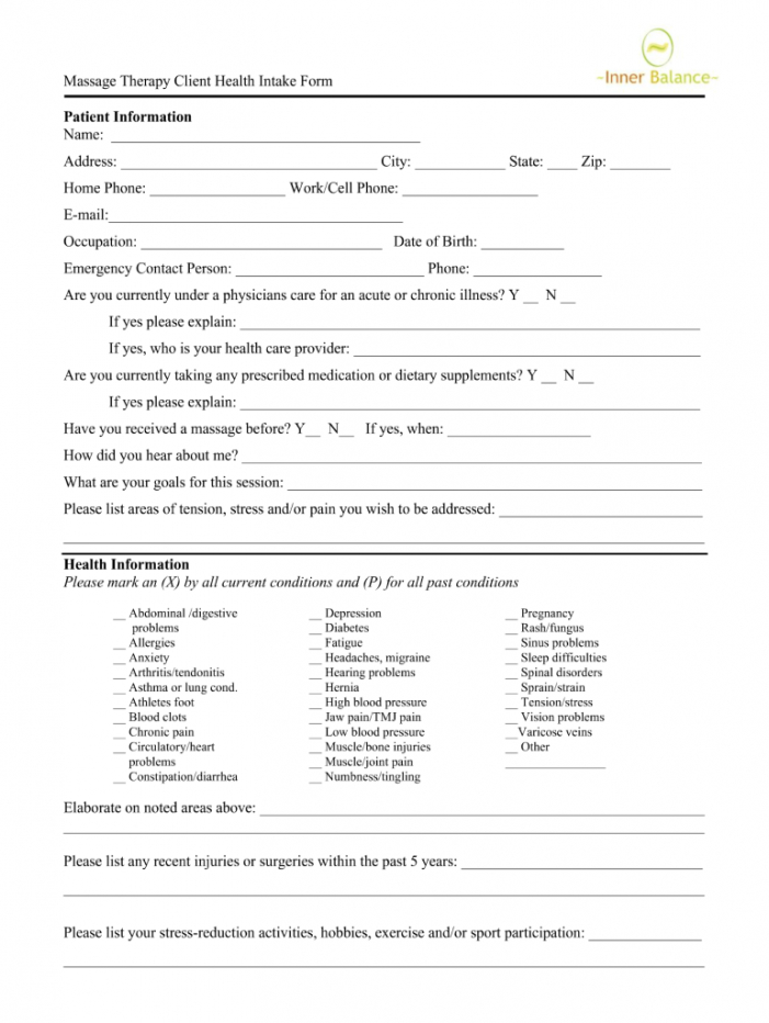 editable new patient intake form massage  fill online printable massage therapy client intake form template