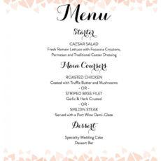 free download a free wedding menu template wedding buffet menu template excel