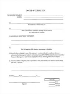 free free 6 notice of completion forms in ms word  pdf completion of work form template