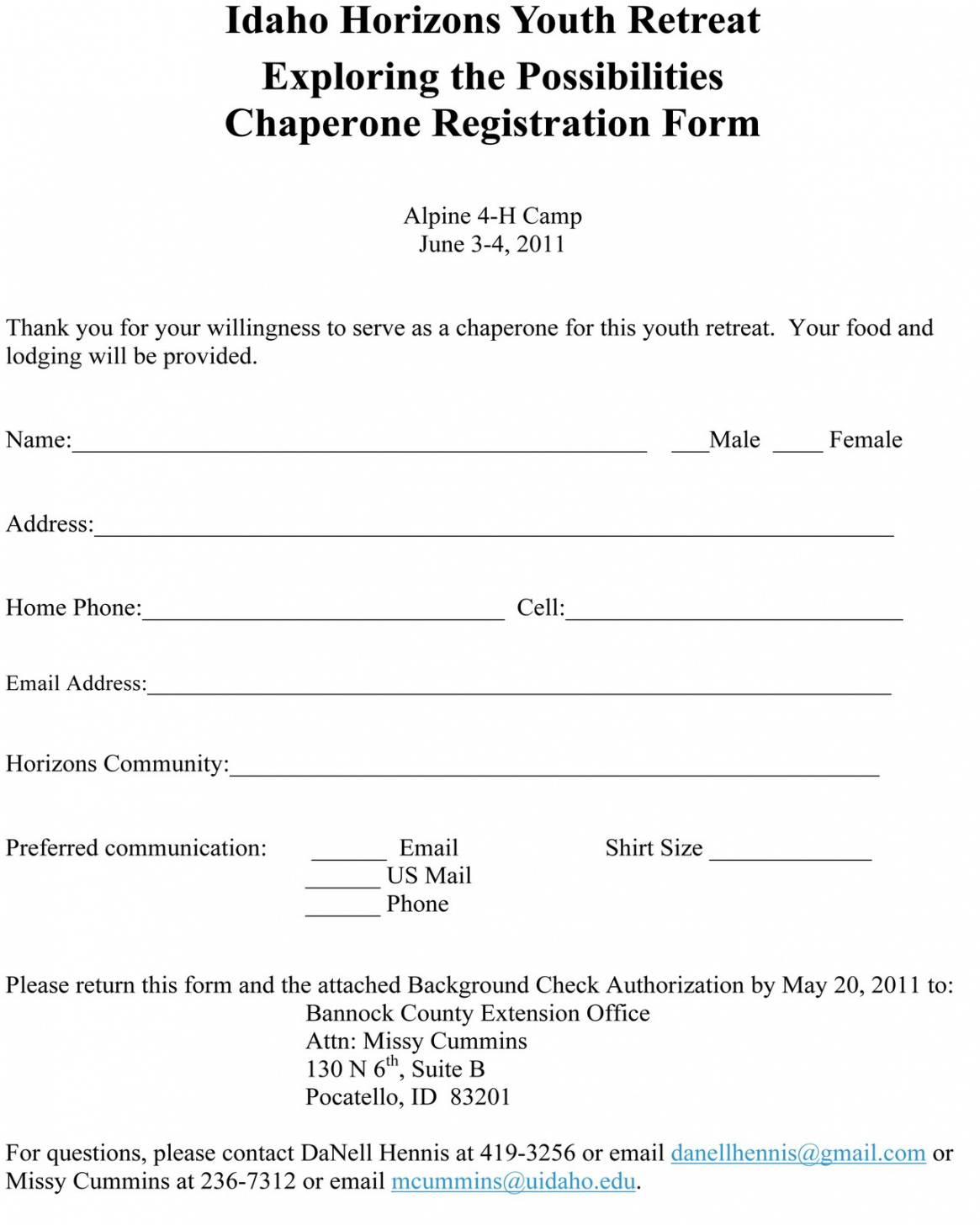 free ririe coalition for community development ryac youth youth retreat registration form template doc