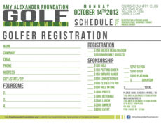 free the amy alexander foundation  15th annual golf tournament golf tournament registration form template doc