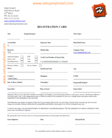 front desk  guest registration card sample hotel application form template doc