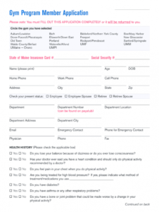 gym admission form  fill online printable fillable blank gym membership form template