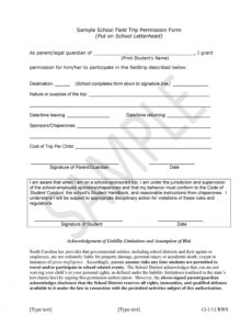 printable 35 permission slip templates & field trip forms field trip release form template pdf