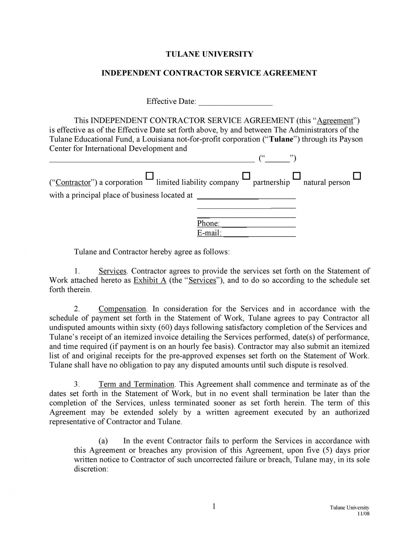 printable 50 professional service agreement templates & contracts service agreement form template doc