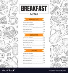 printable breakfast menu template design for restaurant breakfast menu template pdf