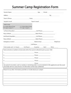 printable free 11 printable summer camp registration forms in pdf sports camp registration form template