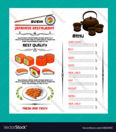 printable sushi menu template of japanese cuisine restaurant japanese menu template