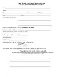 sample 5 registration form templates word  word templates golf registration form template pdf