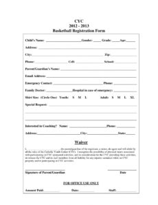 sample free 11 basketball registration forms in pdf  ms word  excel sports camp registration form template word