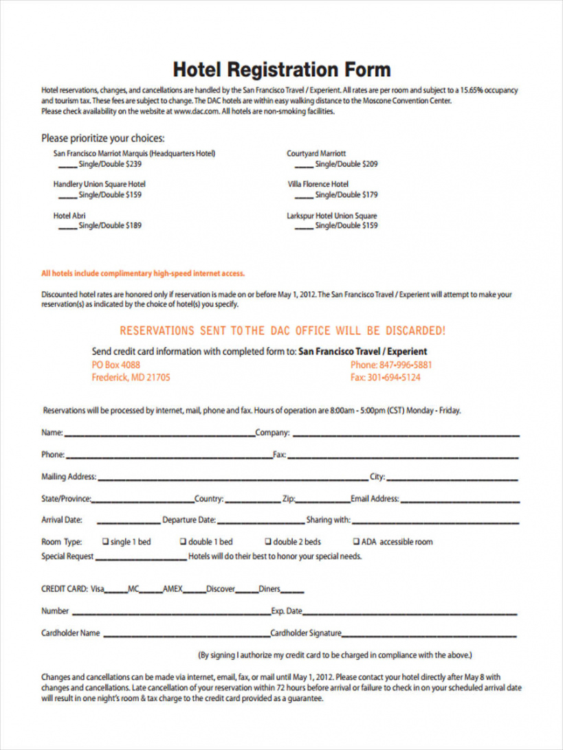 sample free 22 hotel registration forms in pdf  ms word hotel application form template sample
