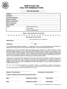 sample indemnity form  fill online printable fillable blank field trip release form template sample