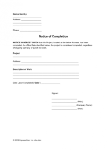 sample notice of completion general form  free template completion of work form template example
