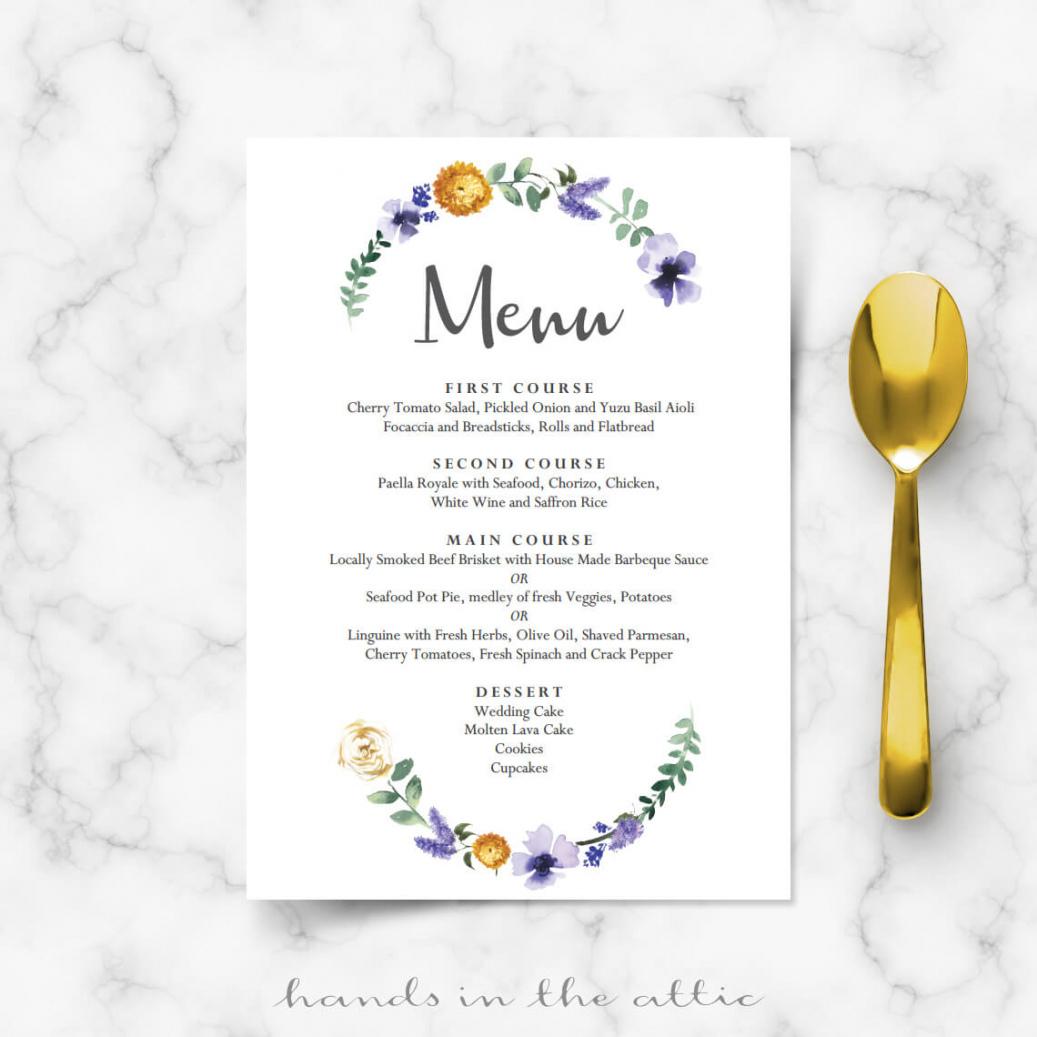 sample purple floral wedding buffet menu template wedding buffet menu template pdf