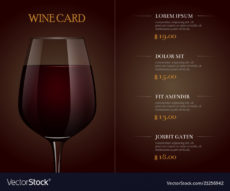 wine card menu template with realistic glass of wine tasting menu template doc