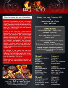 bbq menu templates  word excel fomats bbq catering menu template word