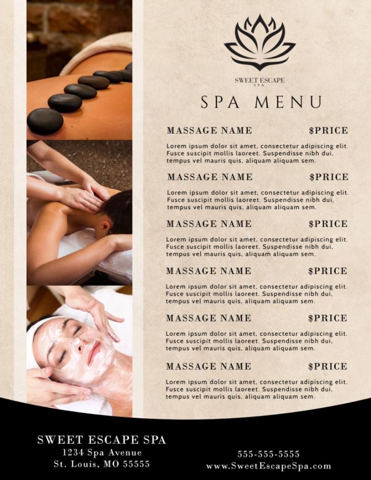 beautiful spa menu template  mycreativeshop massage menu template excel