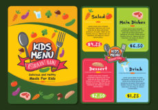 cute colorful kids menu template  download free vectors restaurant kids menu template word