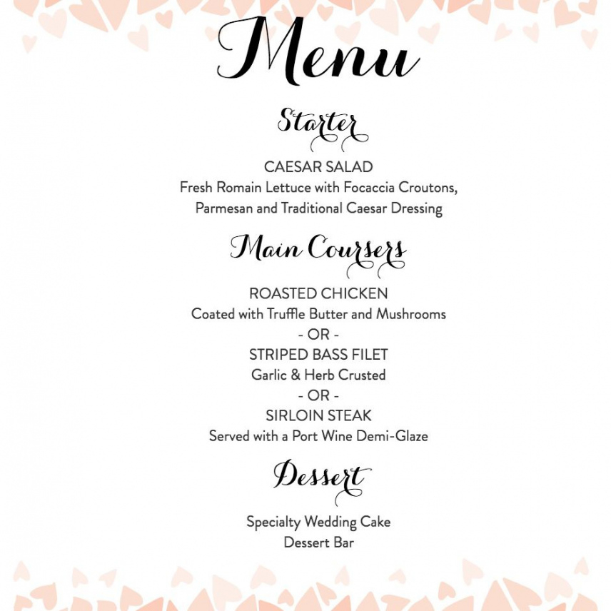 download a free wedding menu template rehearsal dinner menu template doc