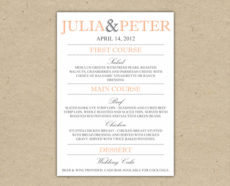 editable 14 dinner menu templates free images  printable weekly rehearsal dinner menu template pdf