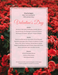 editable floral valentine's day menu template valentines day menu template word