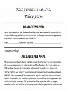 editable free 5 sample damage waiver forms in ms word  pdf damage release form template pdf