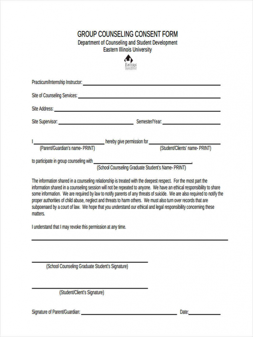 editable free 8 counseling consent forms in pdf  ms word counseling release of information form template excel