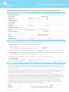 editable hospital admission form  fill online printable fillable hospital admission form template sample