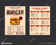 editable menu placemat food restaurant brochure menu template design vector food  menu flyer gourmet menu board 295644740 fast food menu board template doc