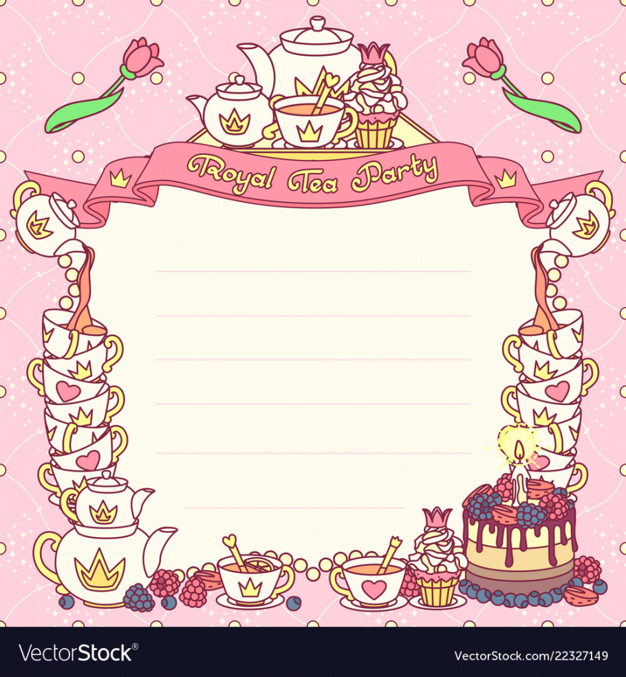 editable royal tea party template royalty free vector image tea party menu template sample