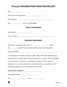 free 501c3 donation receipt template  sample  pdf charity donation form template pdf