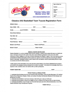 free basketball application  fill out and sign printable pdf template  signnow baseball tournament registration form template example