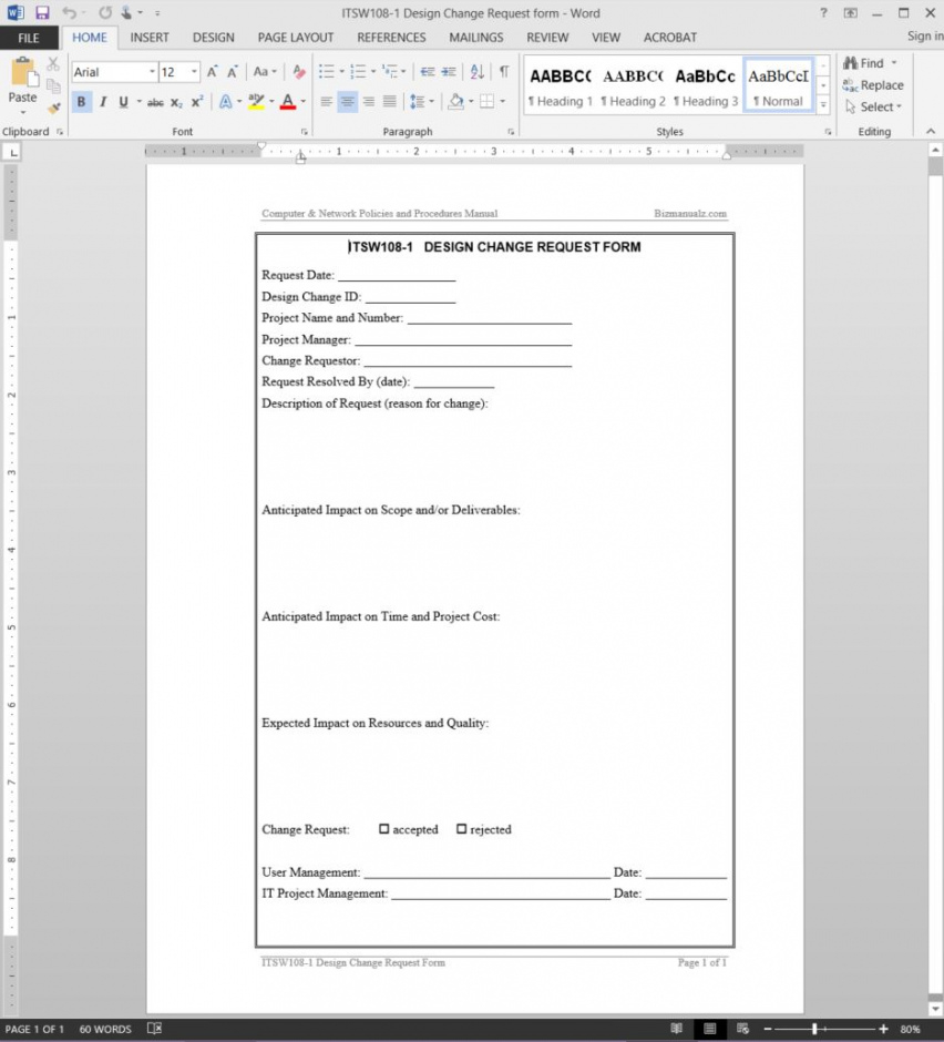 free design change request template  itsw1081 application change request form template pdf
